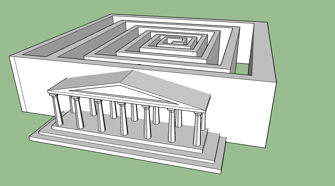 Architecture student project: CAD drawing of the Minotaur Maze
