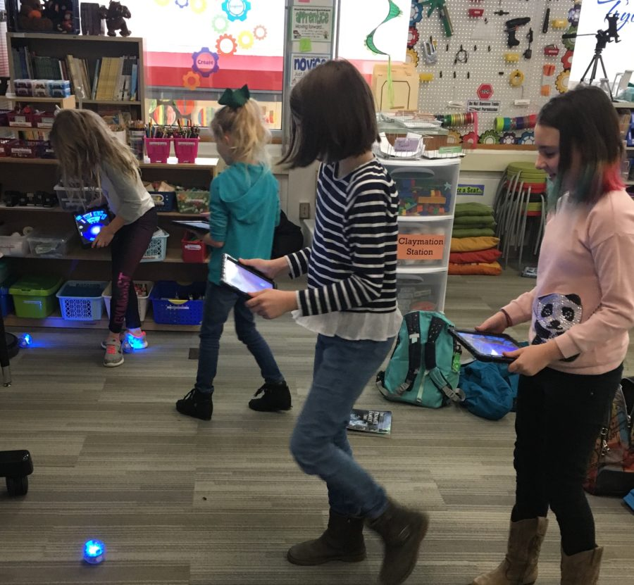 Students using Sphero