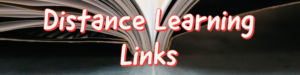 "image of open book with text that reads ""distance learning links"""