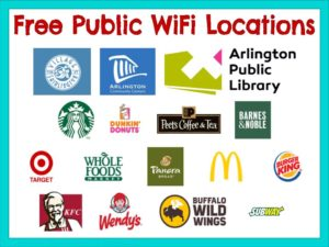logos of local companies offering free public WiFi