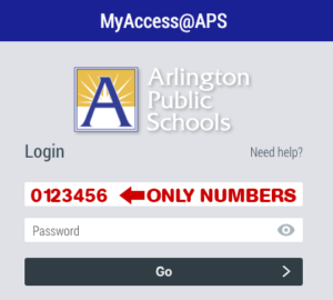 screenshot of MyAccess login screen